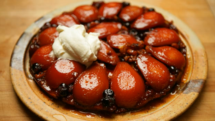 Sweet! Tarte Tatin is a classic for a reason - this dessert is big enough to satisfy the end of any meal but light enough not to put you to sleep.  An upside down tart that is traditionally made with apples, this version combines two other favorite fall flavors.  Most of all, it is truly easy to prepare.